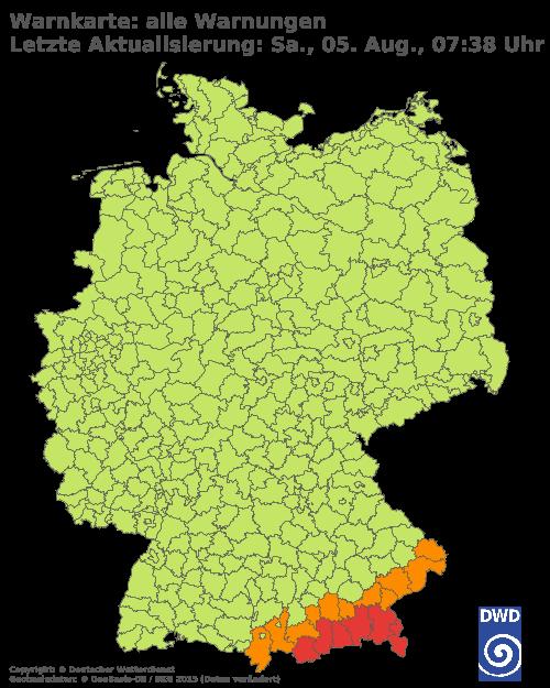 Aktuelle Wetterwarnungen für Trier-Saarburg und Stadt Trier
